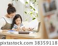 使用與母親的孩子工作在客廳 38359118