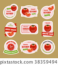 Cartoon Tomato Badges or Labels Set. Vector 38359494