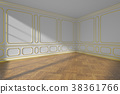 White empty room with gold molding and parquet 38361766