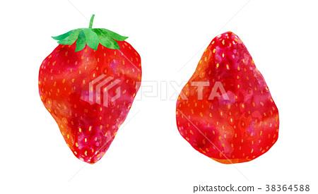 草莓例证设置了与Heta和没有Heta的例证 38364588