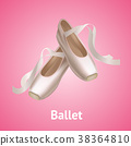 Realistic Detailed Ballet Pointe Shoes on a Pink 38364810
