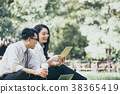 Asian business people working in a park 38365419