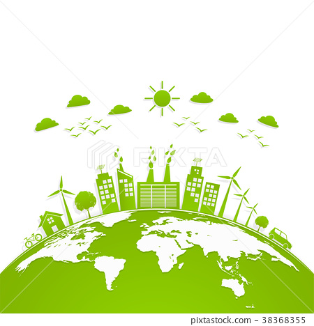 Ecology concept with green city on earth 38368355