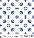 Blue Boat's Wheel , Seamless Pattern 38368389