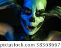 Beautiful creepy girl with skeleton makeup 38368667