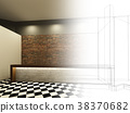 sketch design of counter bar ,3dwire frame render 38370682