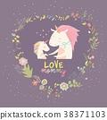 Cute Small Unicorn with Mom in wreath 38371103
