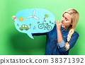 Ecology with woman holding a speech bubble 38371392