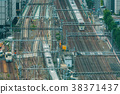 Aerial view of a large train station in Tokyo 38371437