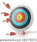 Archery target with red arrows in the center 38374073