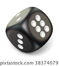 Single black game dice. 3D 38374079