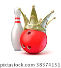 Golden crown on bowling ball and pin. 3D 38374151