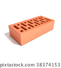 Red brick with rectangular holes. 3D 38374153