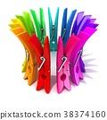 Colorful plastic clothes pegs 3D 38374160