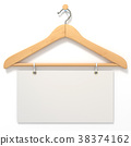 Wooden hanger with blank tag. 3D 38374162