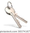 A pair of steel house keys 38374167
