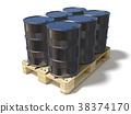 Black oil barrels on wooden euro pallet. 3D 38374170