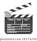 Movie clapperboard, opened. 3D 38374240