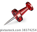 Red push pin.3D 38374254
