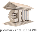 Euro EUR currency sign temple 3D 38374398