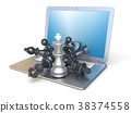Chess pieces on open laptop side view 3D 38374558