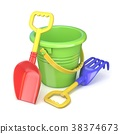 Toy bucket, rake and spade. 3D 38374673