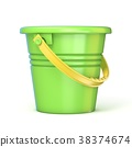 Green yellow sand toy bucket. 3D 38374674