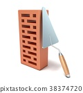 Brick with trowel for construction. 3D 38374720