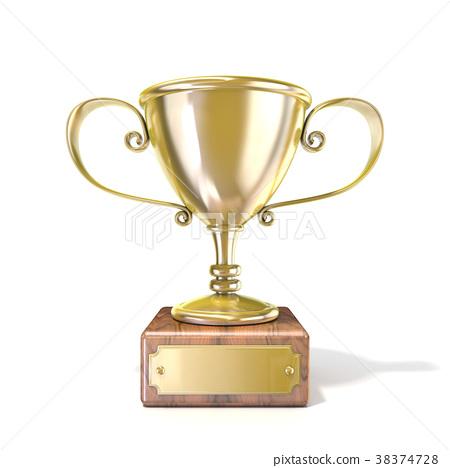Golden trophy cup. 3D 38374728