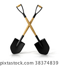Crossing shovels isolated on white background. 3D 38374839