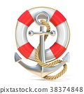 Anchor, lifebuoy and rope. 3D 38374848
