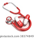 Red stethoscope with two big red pills, 3D 38374849