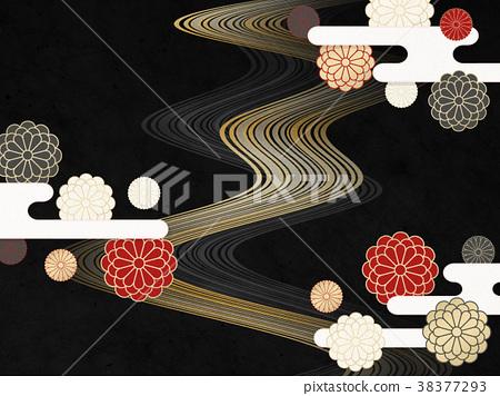 Japanese modern chrysanthemum flower (Japanese paper texture) 38377293