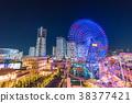 """""""神奈川县""""横滨Minatomirai,整栋建筑照亮了夜景 38377421"""
