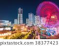 """""""神奈川县""""横滨Minatomirai,整栋建筑照亮了夜景 38377423"""