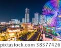 """""""神奈川县""""横滨Minatomirai,整栋建筑照亮了夜景 38377426"""