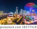 """""""神奈川县""""横滨Minatomirai,整栋建筑照亮了夜景 38377428"""