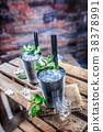 mint cocktail ice 38378991