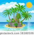 Landscape of palm tree on beach 38380506
