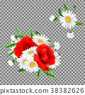 Bouquet of poppies and chamomile flowers 38382626