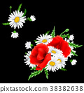 Bouquet of poppies and chamomile flowers 38382638