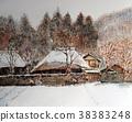 교토 설경 落柿 건물의 겨울 인력거 38383248