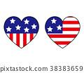 벡터, 국기, 하트 38383659