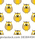 Tile pattern with yellow owls on white background 38384494