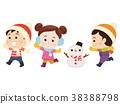 เด็ก ๆ และตุ๊กตาหิมะวิ่งในชุดฤดูหนาว 38388798