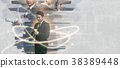Double exposure of a businessman working  38389448