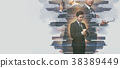 Double exposure of a businessman working  38389449