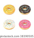 Delicious colorful donut set 38390505