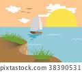 boat beach sunset illustration 38390531