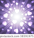 Ultra violet purple burst with many white hearts 38391975